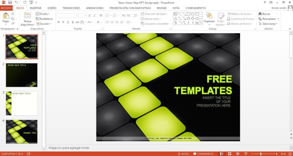 Plantilla powerpoint con fondo oscuro y cuadros verdes gratis.