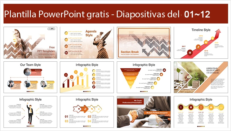 Rising arrows template for PowerPoint free.