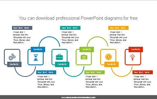 Diagrama de seis rectángulos para powerpoint.