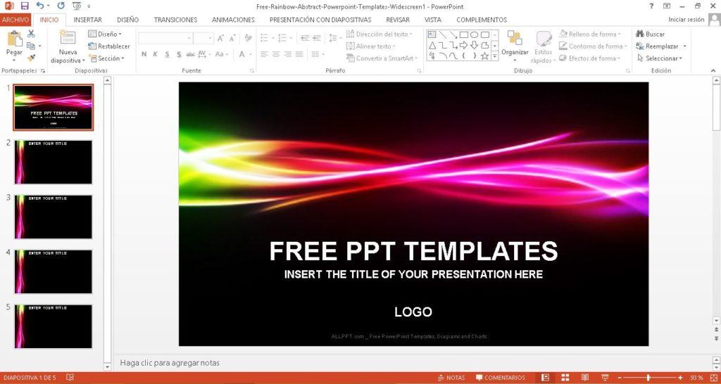Plantilla power point arco iris abstracto con fondo negro. Descargar gratis.