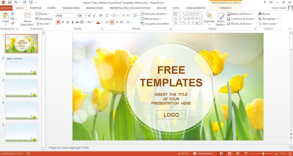 Plantilla powerpoint, de flores amarillas, descargar gratis.