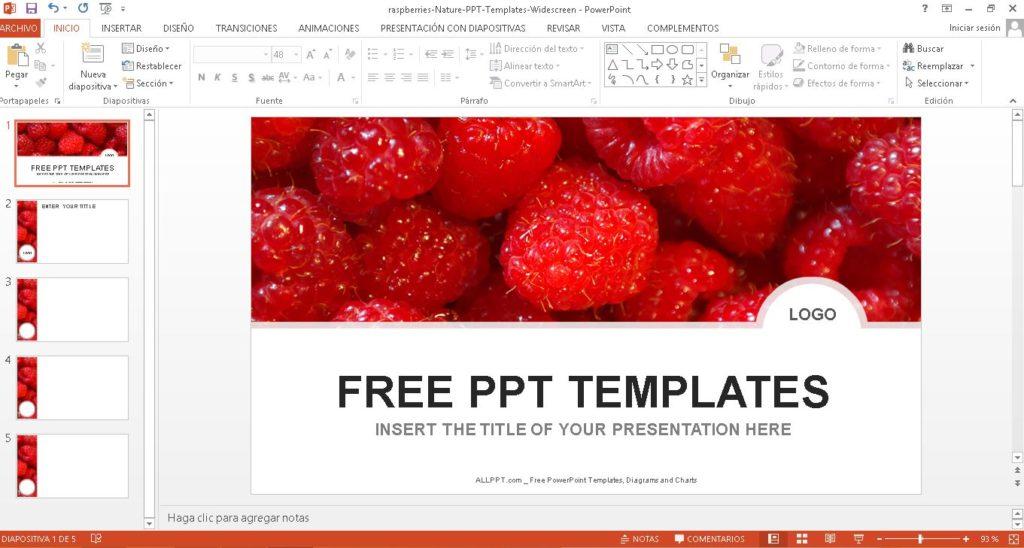Plantilla power point con fondo de fresas gratis.