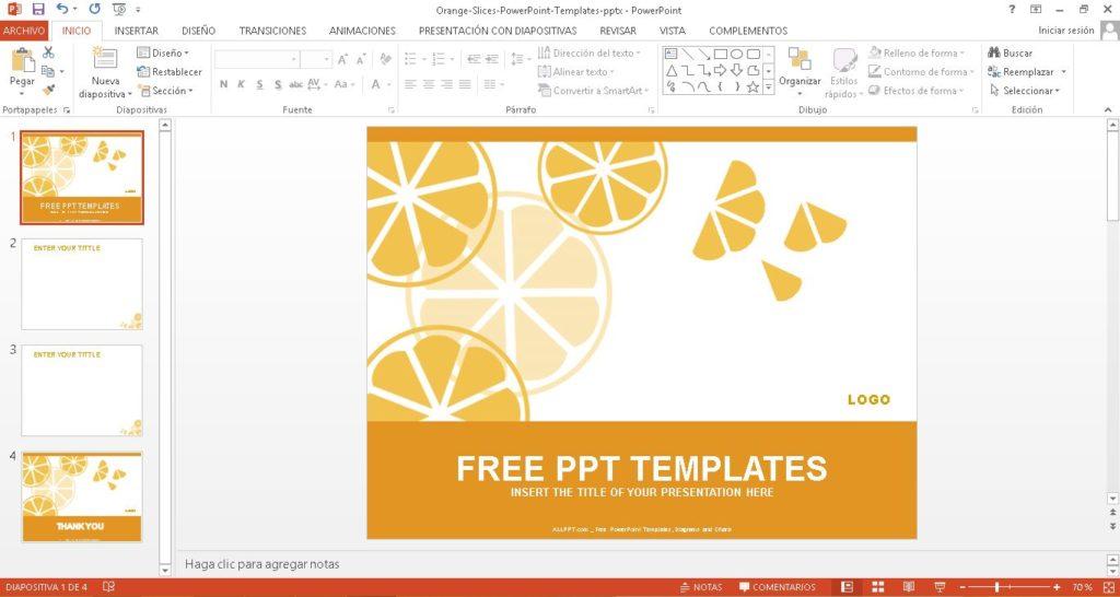Plantilla powerpoint con fonde de tajada de la fruta naranja.
