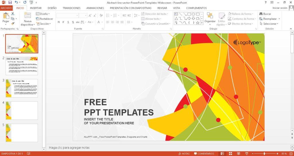 Plantilla power point de lineas abstractas, ideal para presentaciones creativas.