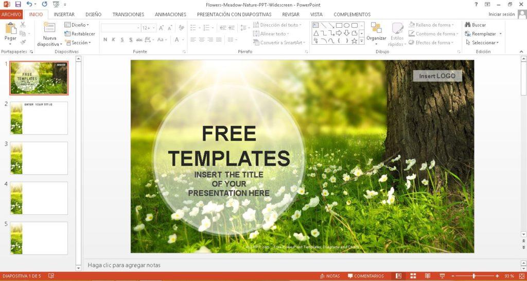plantilla powerpoint paisaje natural, descargar gratis.