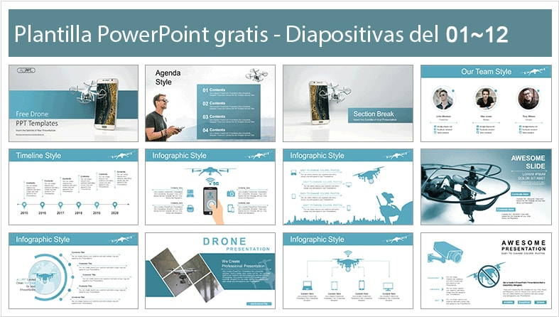 Drones power point template free.