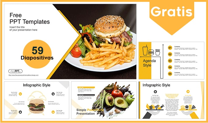 Plantilla power point de Plantilla powerpoint de hamburguesa gratis.