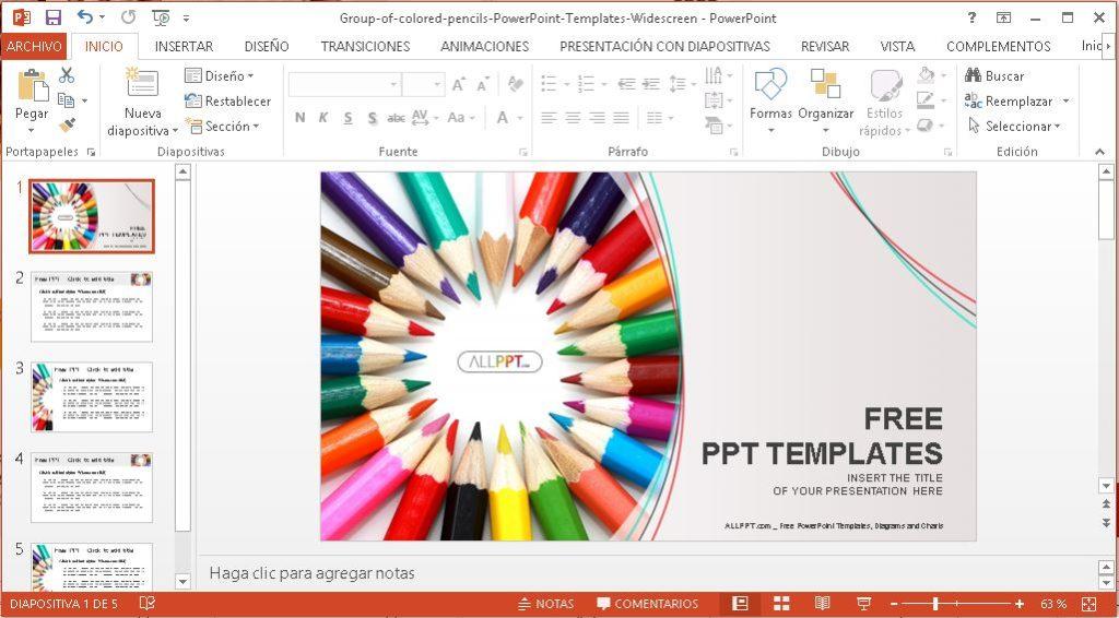 Plantilla lapices de colores en circulo para power Point.