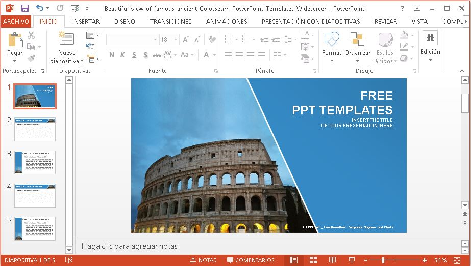 Plantilla para power point de coliseo romano.