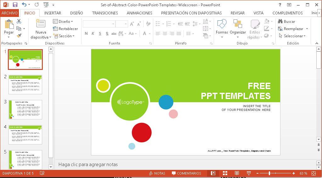 Plantilla Power Point conjunto de círculos de colores.