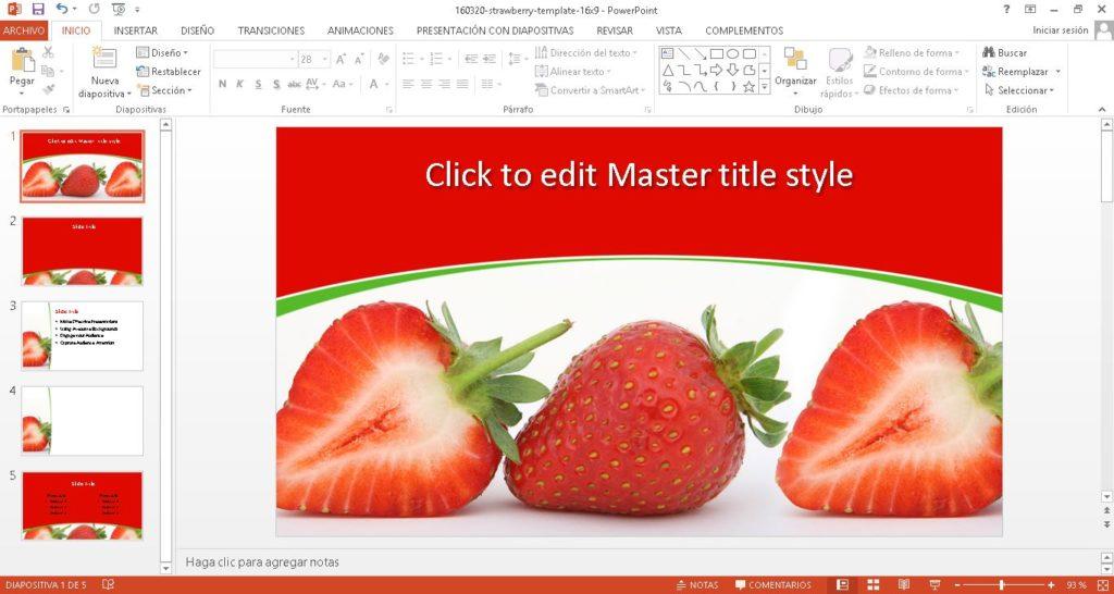 Descargar gratis Plantilla para Power Point con fresas.