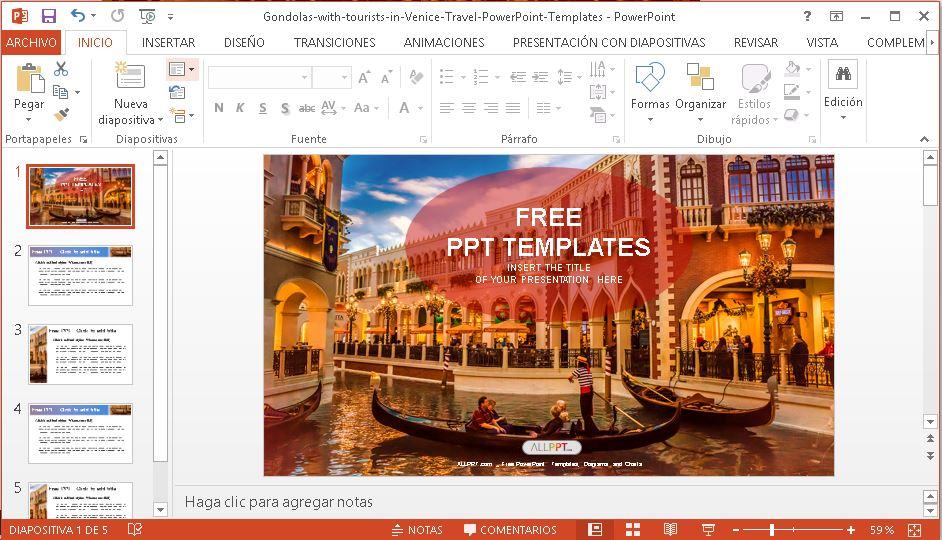 Plantilla PowerPoint góndolas en Venecia.