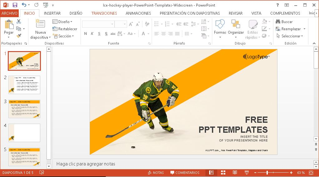Plantilla power point hockey sobre hielo.