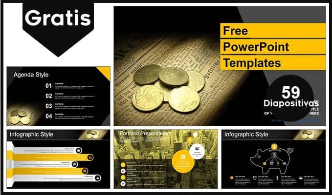 Plantilla para Power Point de monedas y dinero gratis.