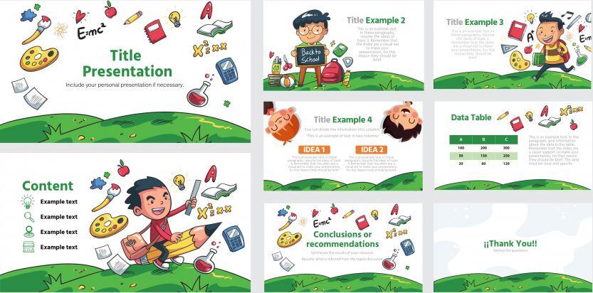 Plantilla para Power Point de niños en la escuela de educación inicial o preescolar para Powerpoint