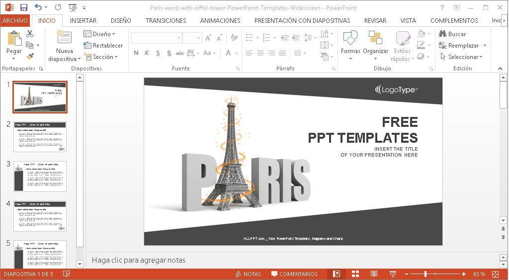 Plantilla para Power Point torre Eiffel.