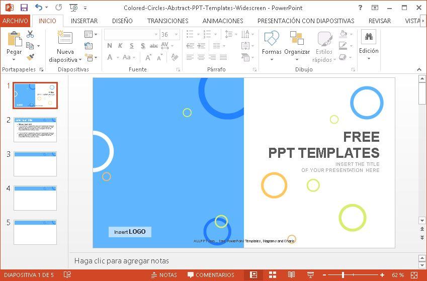 plantilla power point con círculos de colores, descargar gratis.
