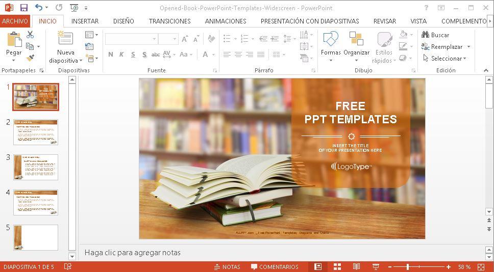 Plantilla powerpoint libro abierto.