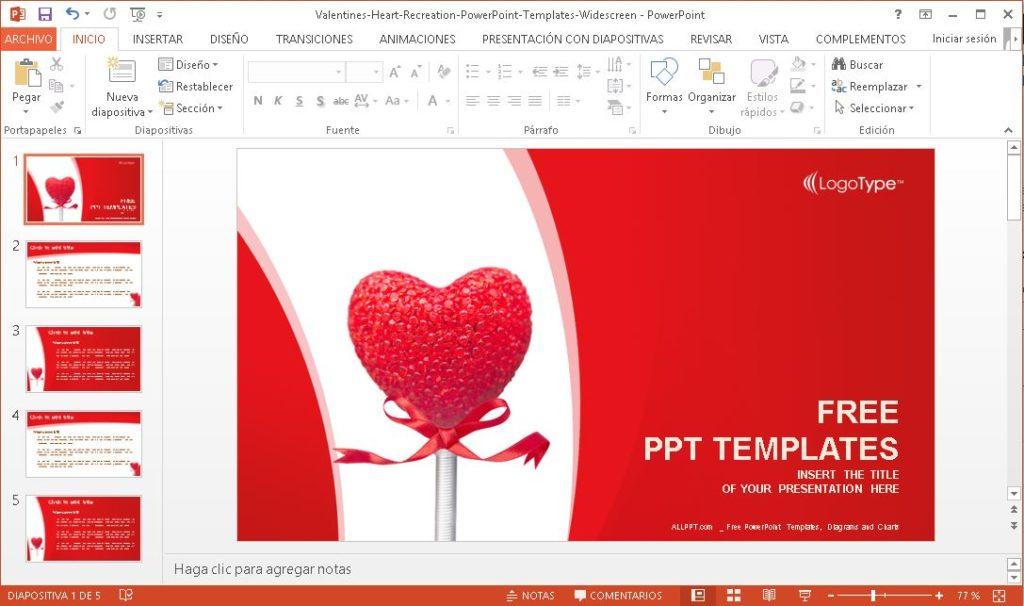 Plantilla Power Point de san valentin para descargar gratis.