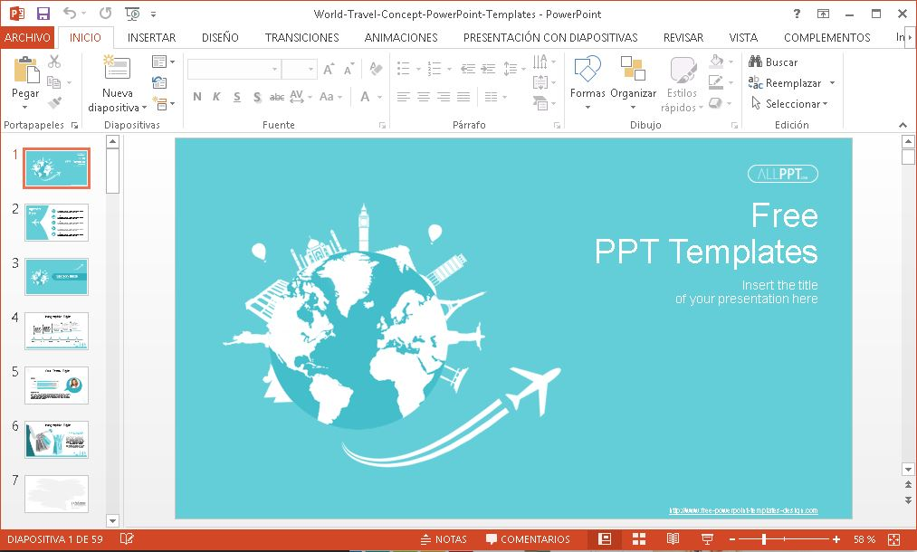 Plantilla Power Point Viaje Mundial Plantillas Power Point Gratis