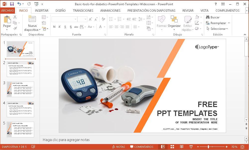 Plantillas Power Point para diabetes.