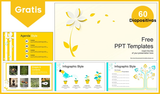 Plantilla Power Point de flores amarillas.