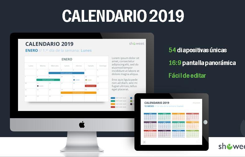 Plantilla power point del calendario 2019