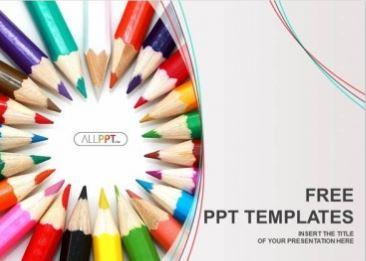 Plantilla grupo de lapices de colores para Powerpoint.