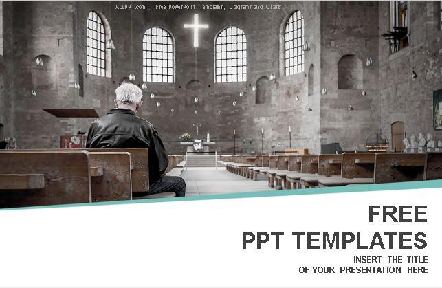Plantilla hombre orando para Powerpoint