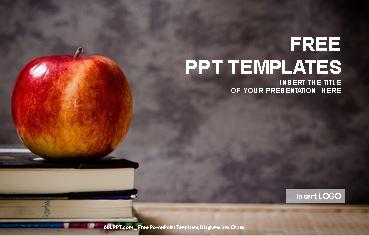Plantilla power point de libros con una manzana, descargar gratis.