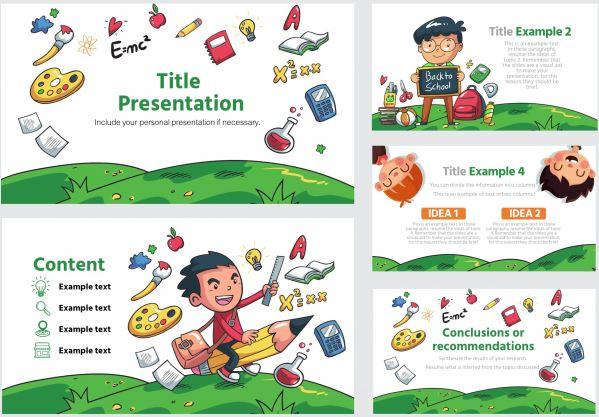 Plantilla de niños de educacion inicial o preescolar para Powerpoint