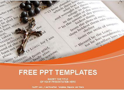 Plantilla de rosario con biblia abierta para powerpoint.