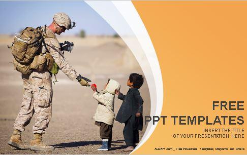 Plantilla de soldado militar y niños para powerpoint.