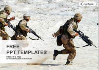 Plantilla soldados en el desierto para Powerpoint.