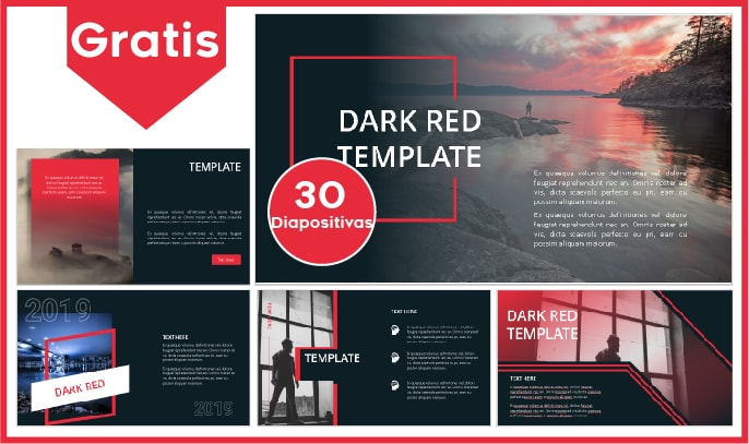 Plantilla power point rojo con negro gratis.
