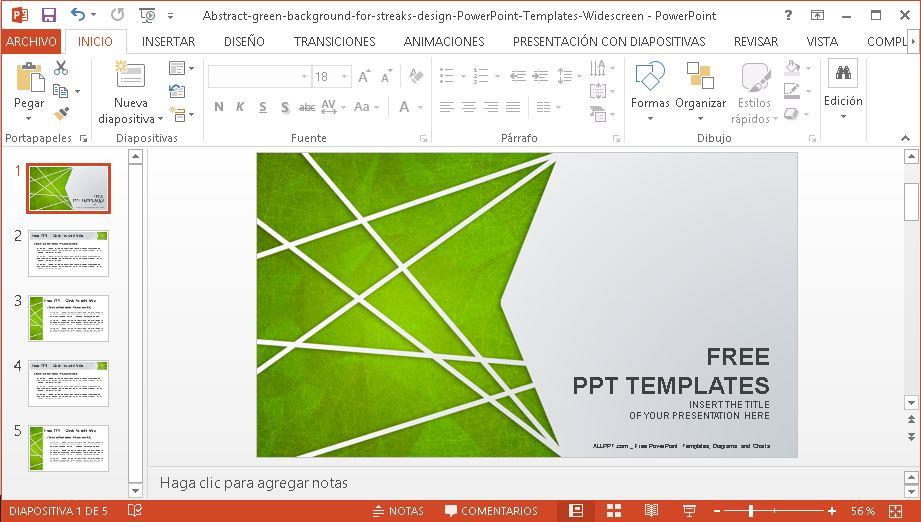 Plantilla Powerpoint Fondo Verde Abstracto Plantillas Gratis