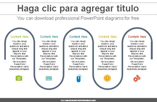 Diagrama proceso de cinco flujos para Power Point.