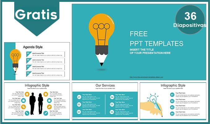 Plantilla Bombilla creativa o foco de ideas para power point.
