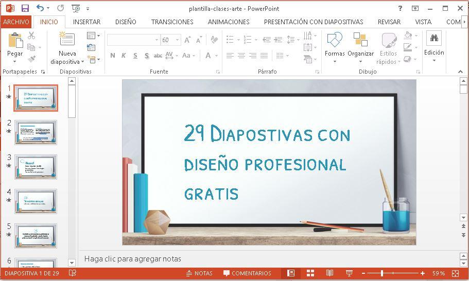 Plantilla para Clases de Arte en Powerpoint gratis.