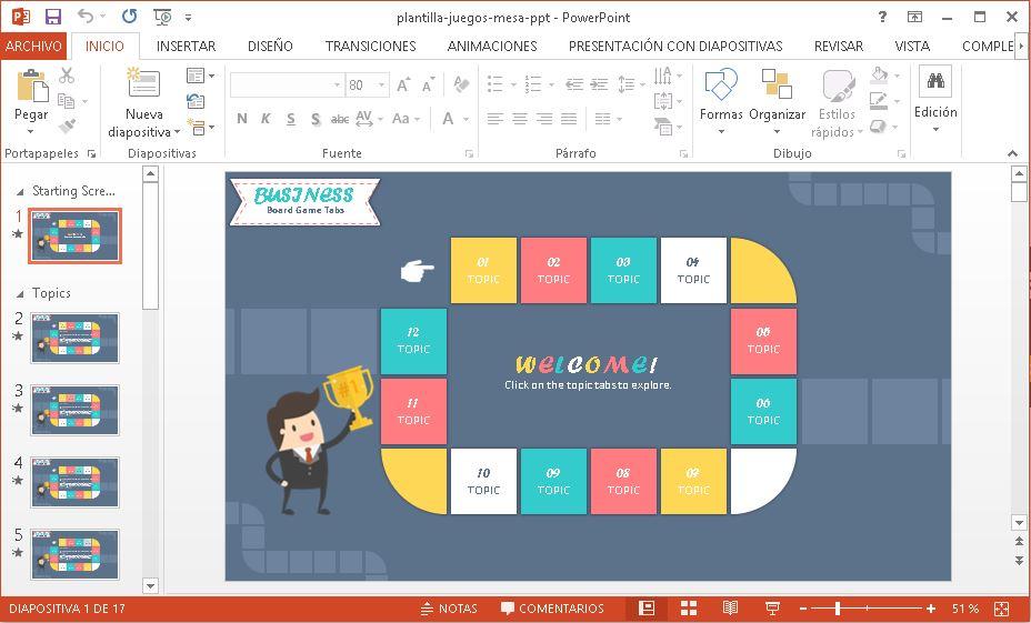 Plantilla Powerpoint Juegos de mesa gratis.