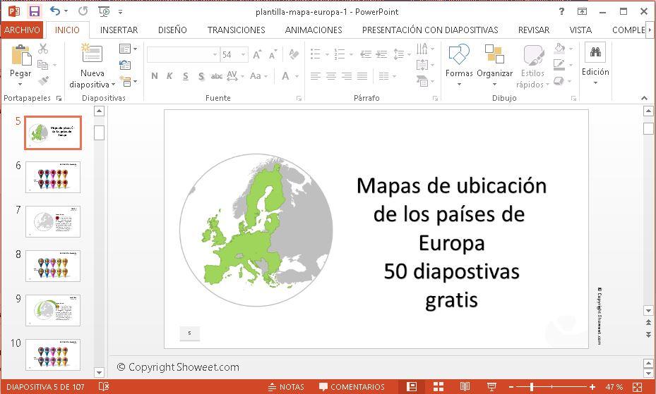 Plantilla mapas de europa en power point gratis.