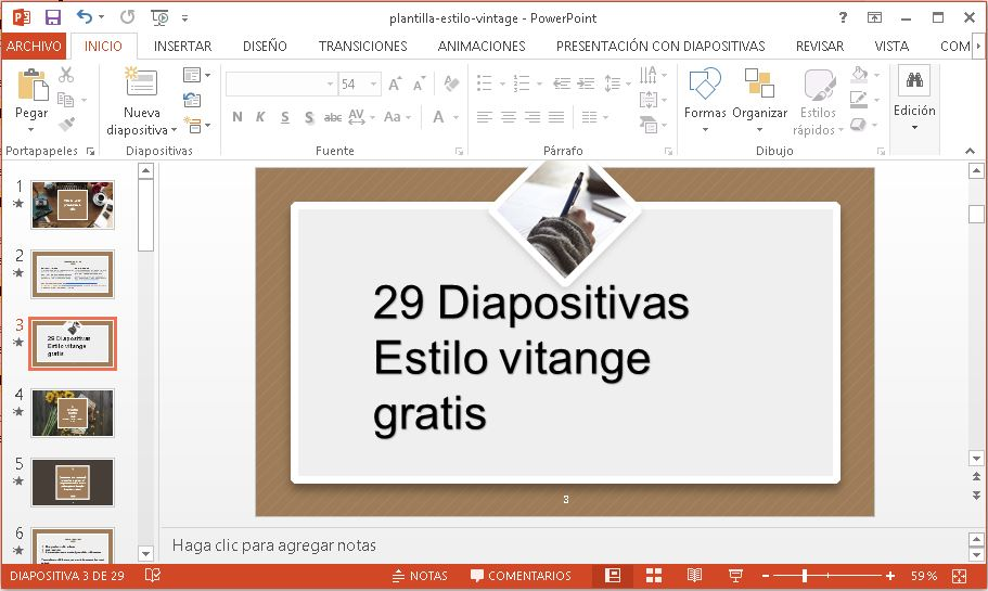 Plantilla con marco Marrón para Powerpoint gratis