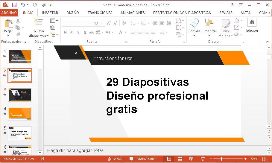 Plantilla Moderna y Dinámica para Powerpoint gratis.