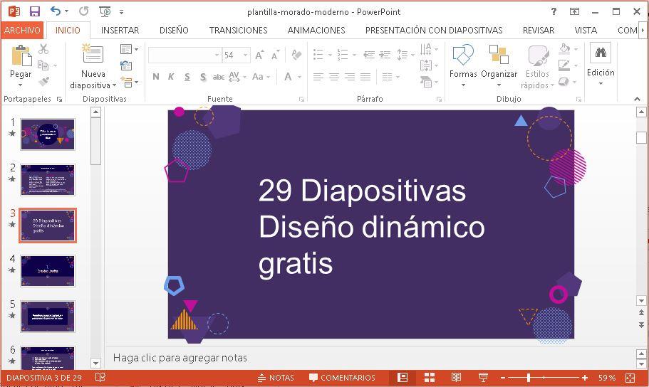 Plantilla Morado Dinámico para Powerpoint gratis