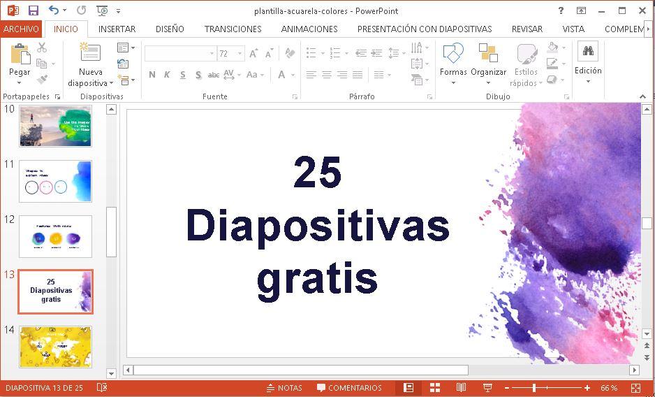 Plantilla Power Point Acuarelas de Colores.