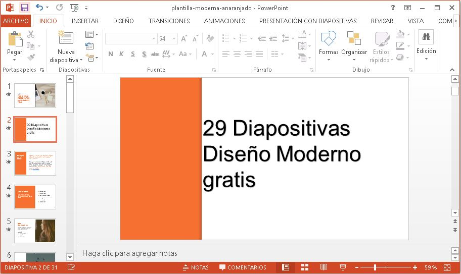 Plantilla moderna de color naranja para power point gratis.