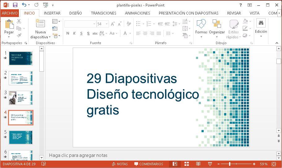 Plantilla Powerpoint estilo Pixeles gratis.