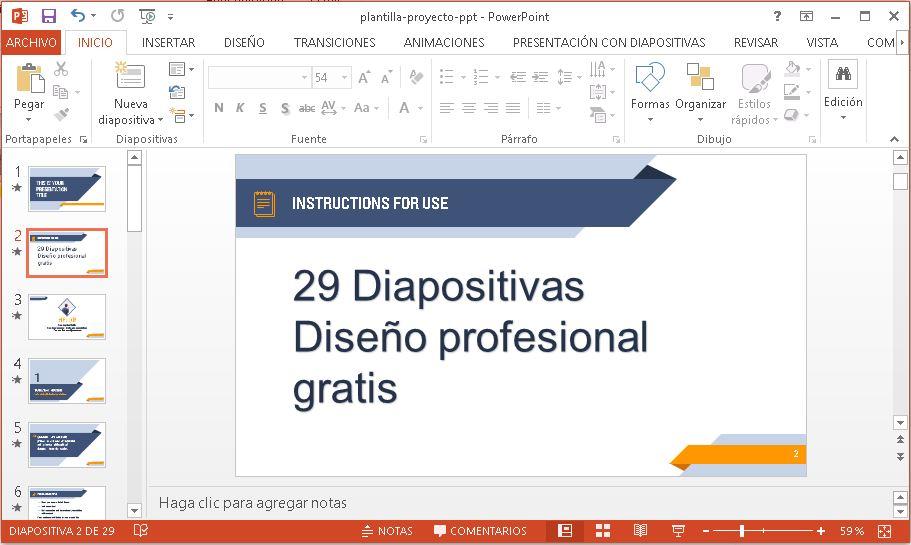 Plantilla para presentar proyecto en Powerpoint gratis.