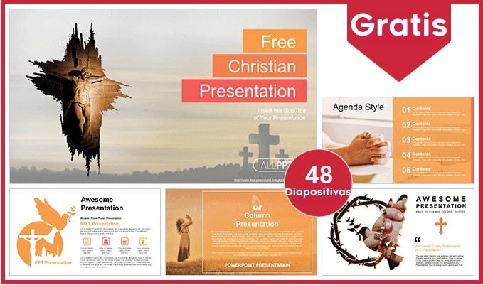 Plantilla Powerpoint de la Crucifixión de Jesús gratis.