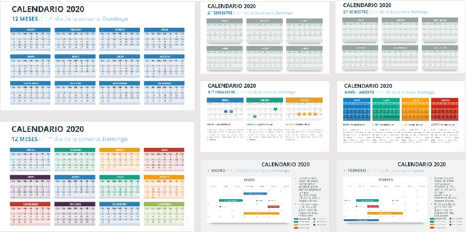 Calendario 2020 en Power point   Plantillas Power Point gratis